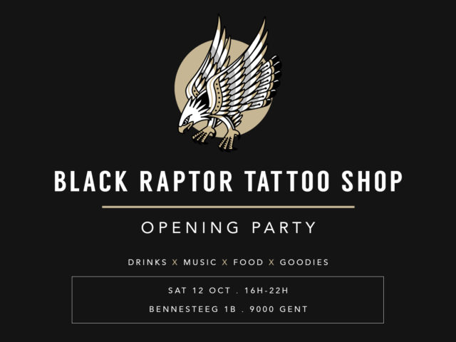 Black Raptor Tattoo opening party banner
